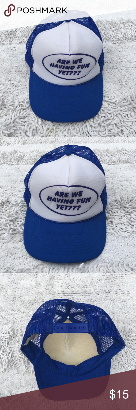 ARE WE HAVING FUN YET Vintage Nissin Hat Frat Cap Classic trucker / snap back ha...#cap #classic #frat #fun #hat #nissin #snap #trucker #vintage