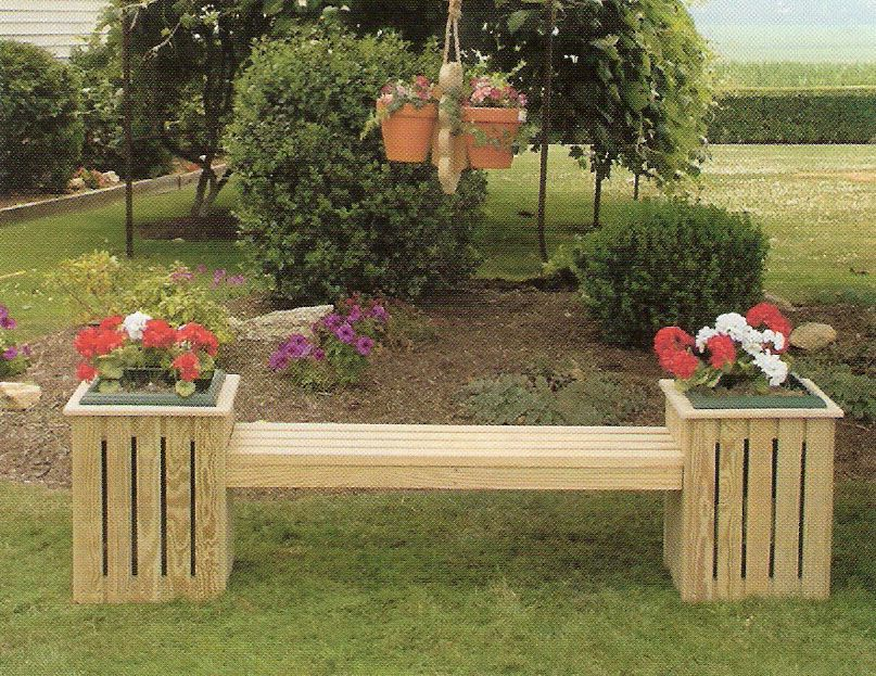 Amish Pine Outdoor Country Bench Planter With Plastic Pot   Wooden Garden  Planters Ideas