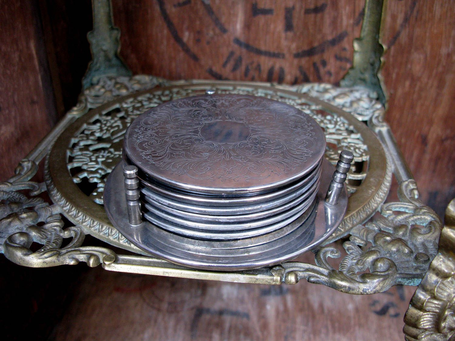 Engraved Coasters Six Silver