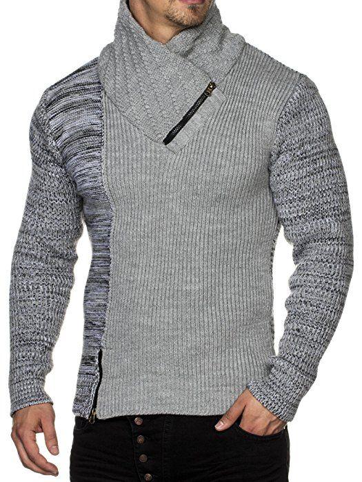 Tazzio Fashion Herren Grobstrick Pullover Weiß