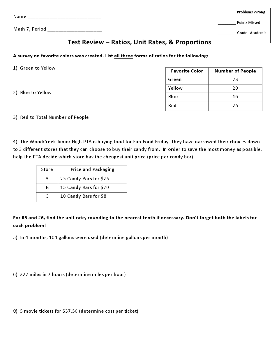 Thursday AC- Test Review- Ratios, Rates and Proportions.pdf