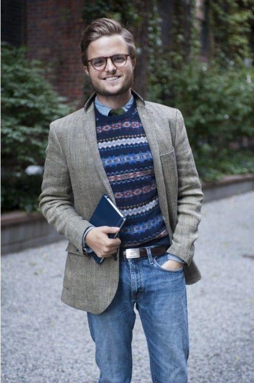 Men's Grey Wool Blazer, Navy Fair Isle Crew-neck Sweater, Blue ...