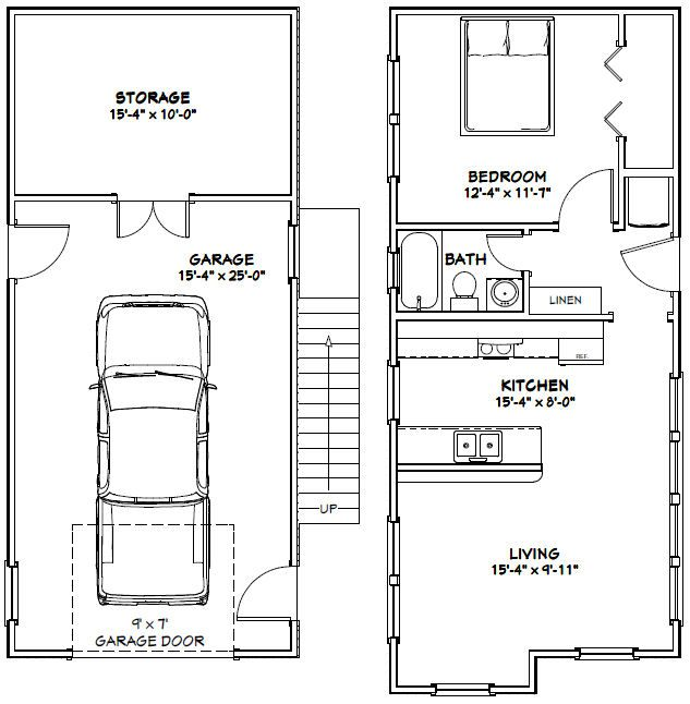 16x36 House -- #16X36H14A -- 760 sq ft | tiny homes | Floor plans