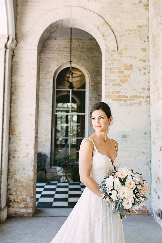 Annesdale Mansion Fairy Tale Romance   MEMPHIS, TN | Borrowed U0026 Blue | Long  Lace Train With Spaghetti Straps | Full White Bouquet