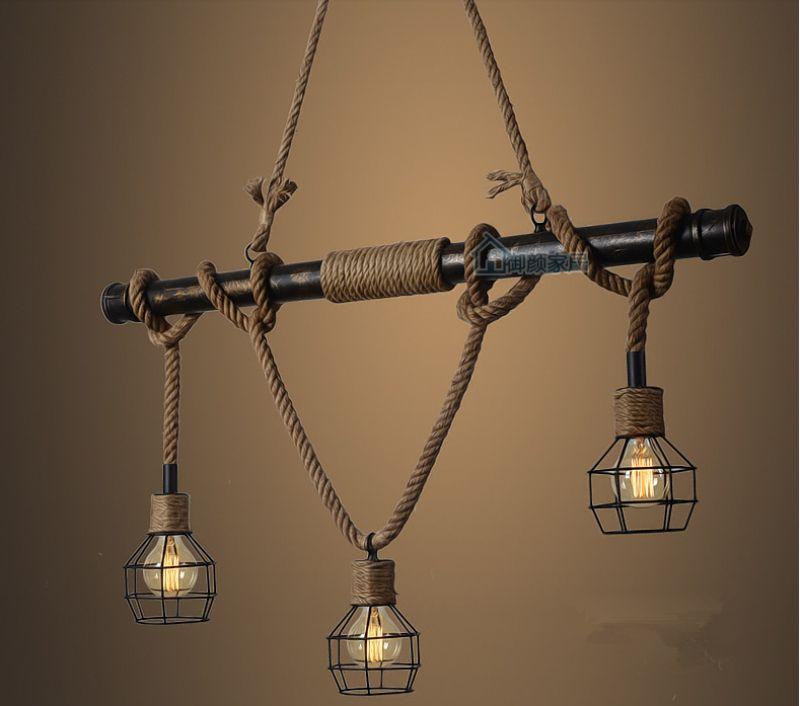 Rustic Light Industrial Chandelier Rope Pulley Yoke Wood Metal: American Country E27 Edison Industrial Vintage Metal Water