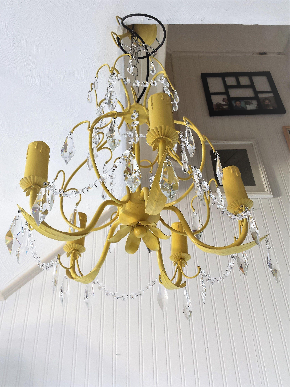 66edab8903 Reclaimed vintage crystal pendant 5 light chandelier fixture in ...