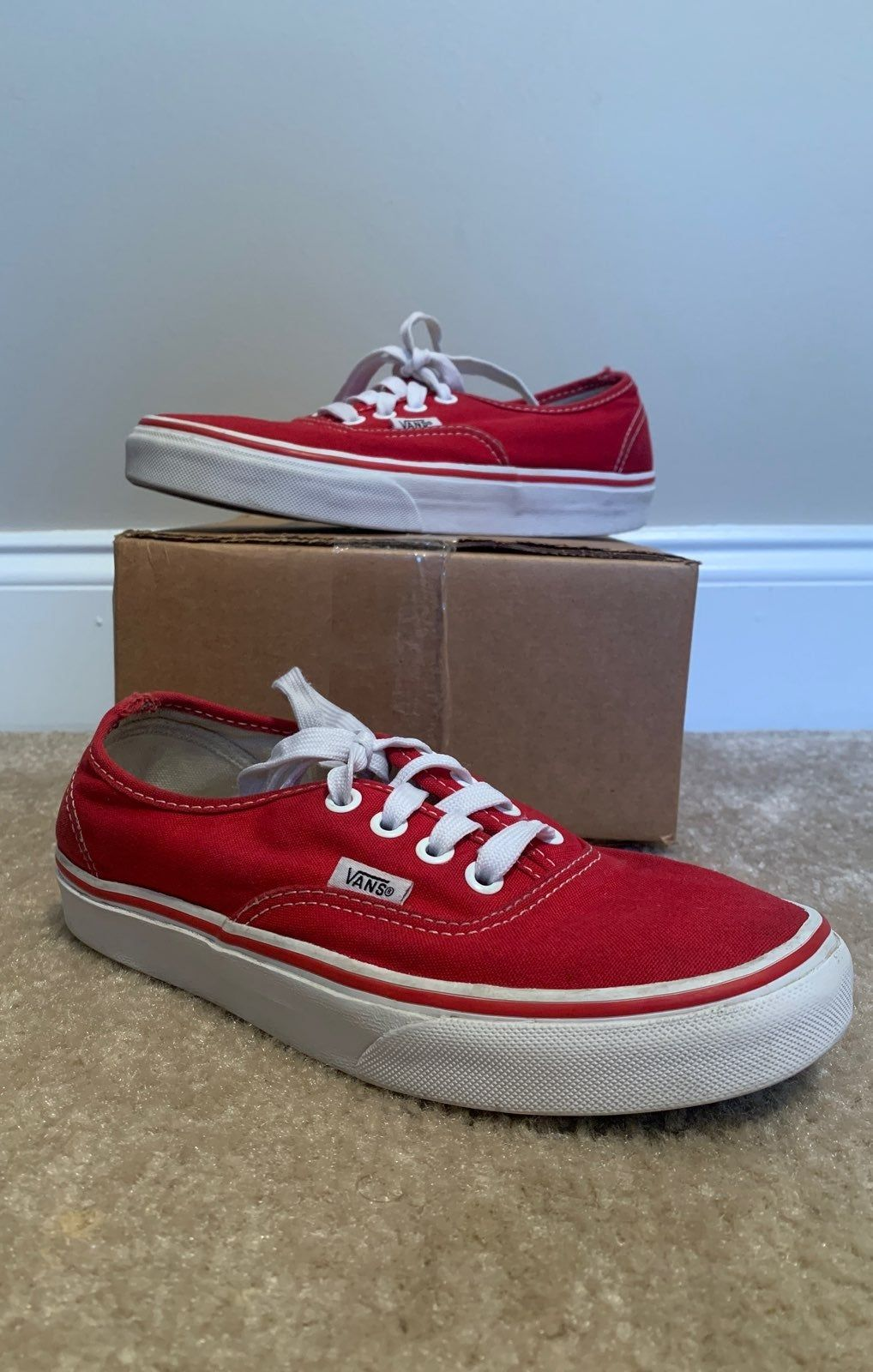 Red Authentic Vans Box logo in the back