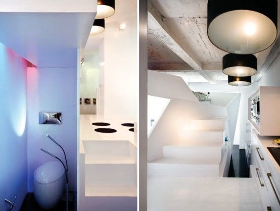 Wonderful Small Apartment Futuristic Interior Design : Small Apartment Futuristic  Interior Design With White Bathroom Wall Closet Chandelier Stair Kitchen ...