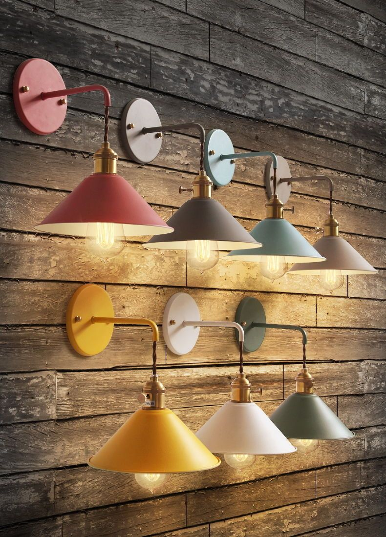 Nordic Modern Simple Metal Shade Wall Sconce Macarons Color Finish