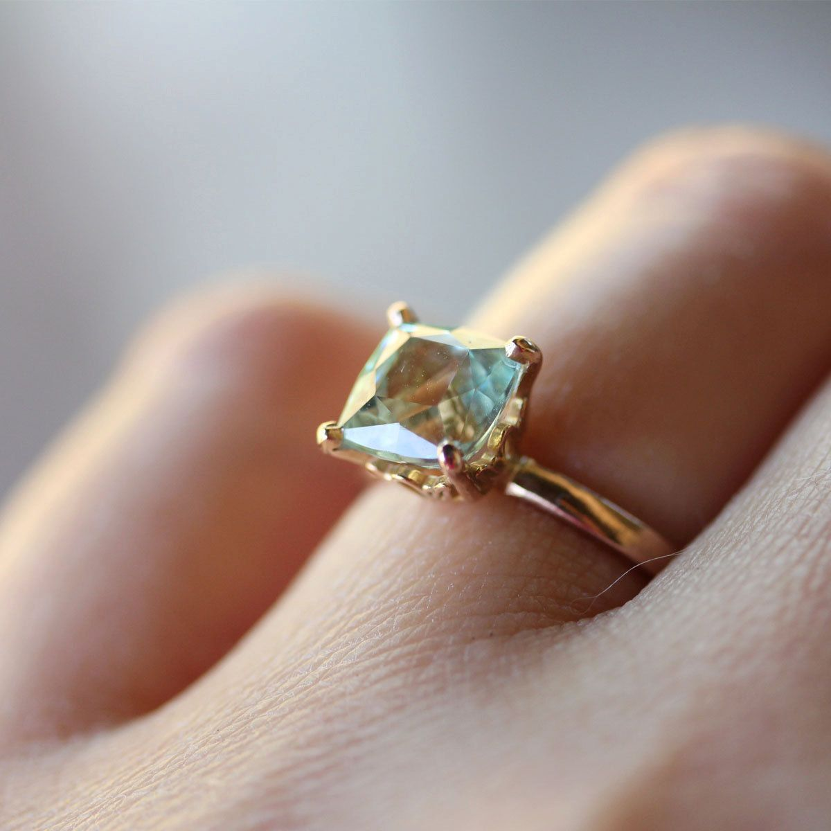 Aquamarine RIng In 14K Rose Gold Engagement Ring - Ready To Ship. $350.00, via Etsy.