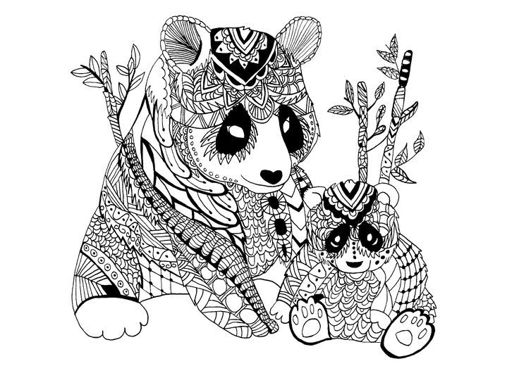 A mama panda Zentangle with its baby An endangered species, From - best of free coloring pages of endangered animals