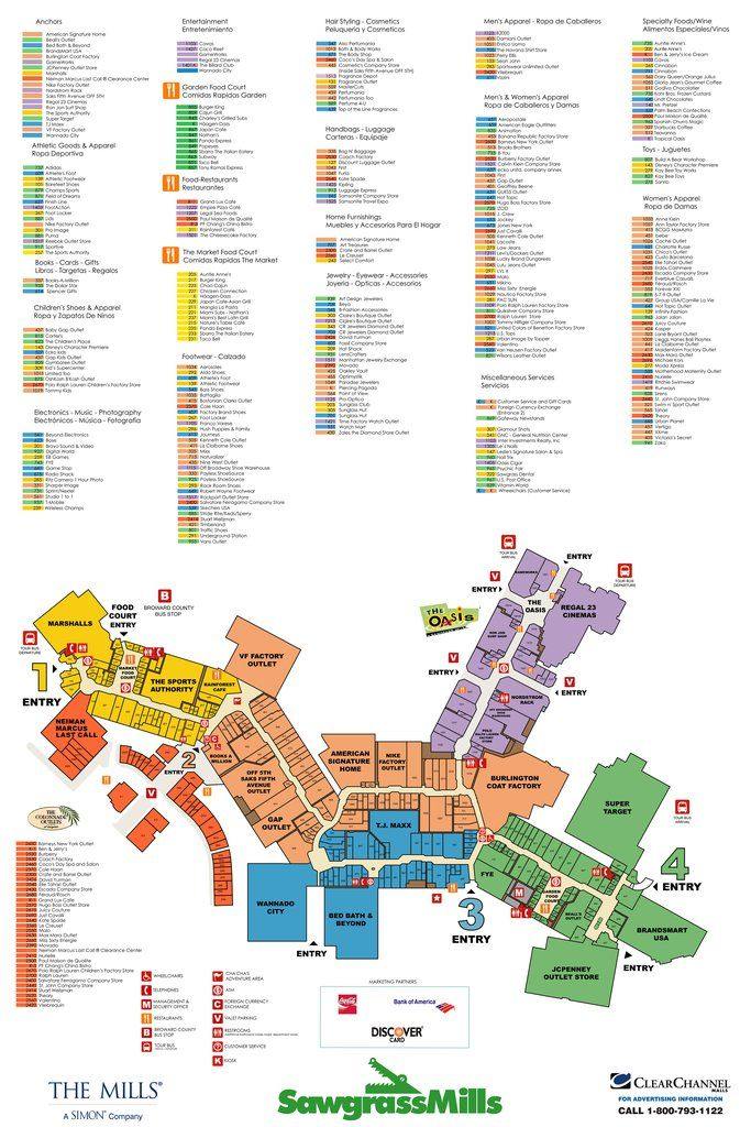 Map Of Florida Mall.Sawgrass Mills Maps Maplets Information Card Edition