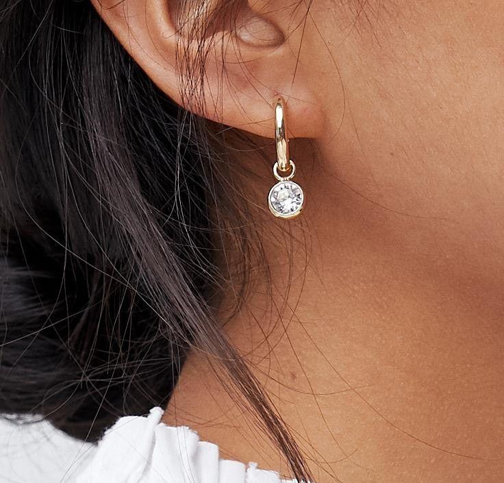 b8d2e851f Accessorize | Accessorize Swarovski gold hoop earrings with rhinestone  detail (+)