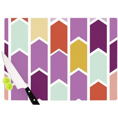 "East Urban Home Orchid Geometric Chevron by Pellerina Design Cutting Board Size: 11.5"" x 15.75"""