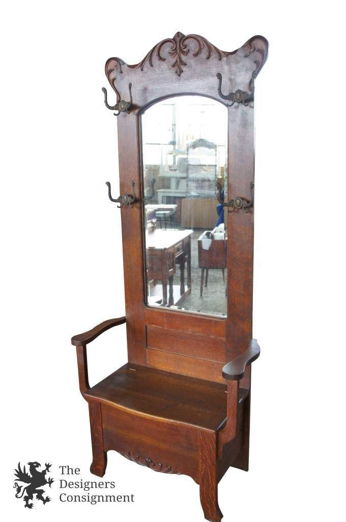 Antique Quartersawn Oak Arts Crafts Carved Hall Tree Seated Bench Beveled Mirror The Designers