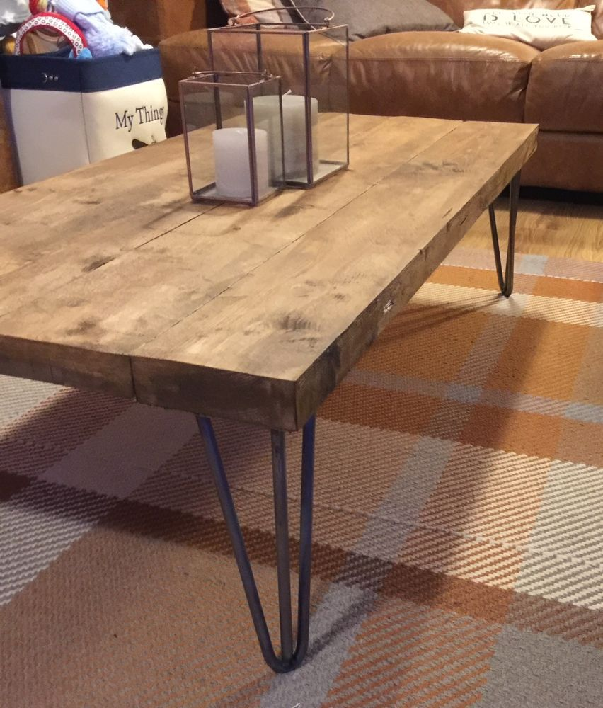 Industrial Coffee Table Hair Pin Leg Table Rustic Shabby