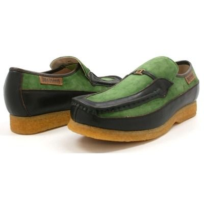 British Collection Power Old School Slip On Green Brown Shoes ... 1ad990a9f