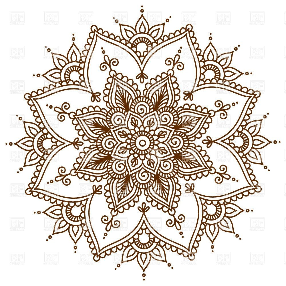brown round floral mandala  28999  design elements royalty-free vector clipart illustration royalty free vector clipart bees