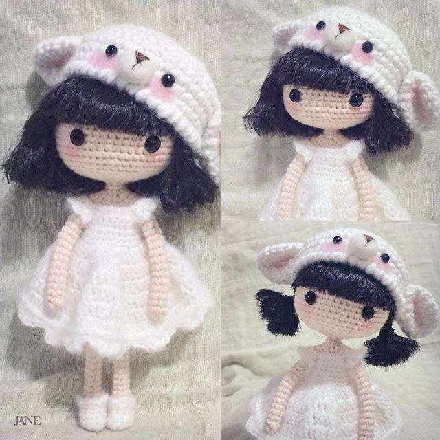 Crochet amigurumi girl doll in a pretty dress and bear hat ...