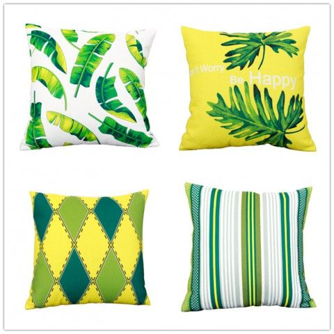 Green Cushions Living Room Funky Chairs Leave Tropical Throw Pillows For Yellow And