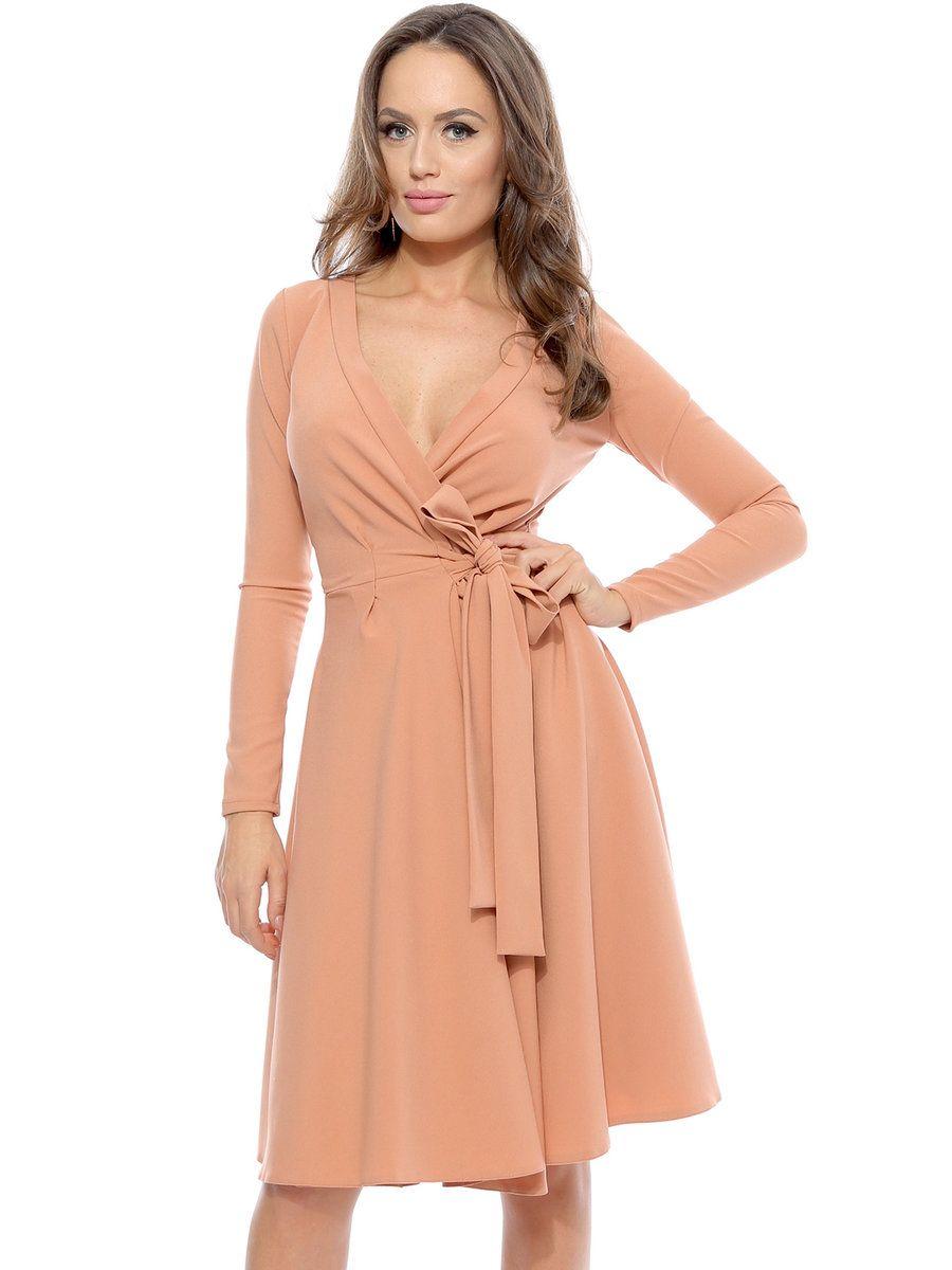 Adorewe stylewe roserry pink surplice neck long sleeve bowtied