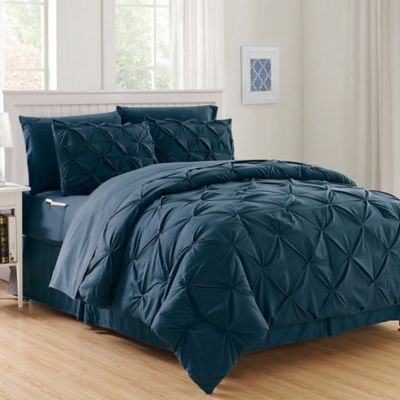 Hi Loft Luxury Pintuck 8 Piece Full Queen Comforter Set In