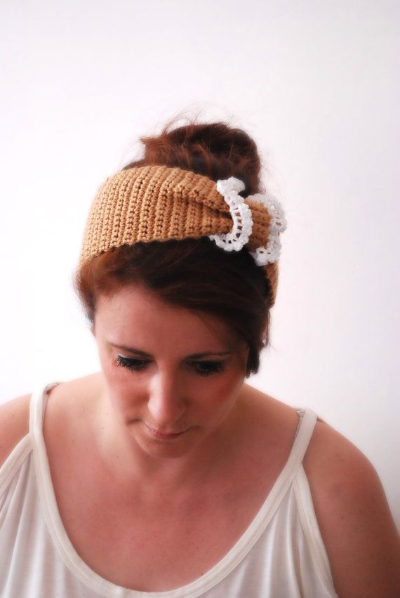 Beige Crochet Lace Hair Band Fashion Accessories by stunninglooks, €11.00