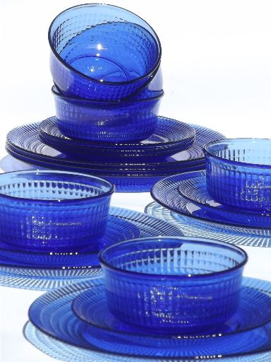 Cobalt Blue Mexican Glass Dishes Set For 6 Crisa Mexico Libbey