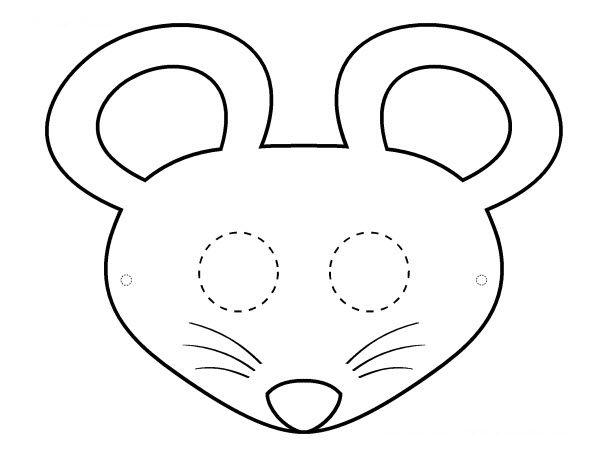 masque souris noir et blanc dessin
