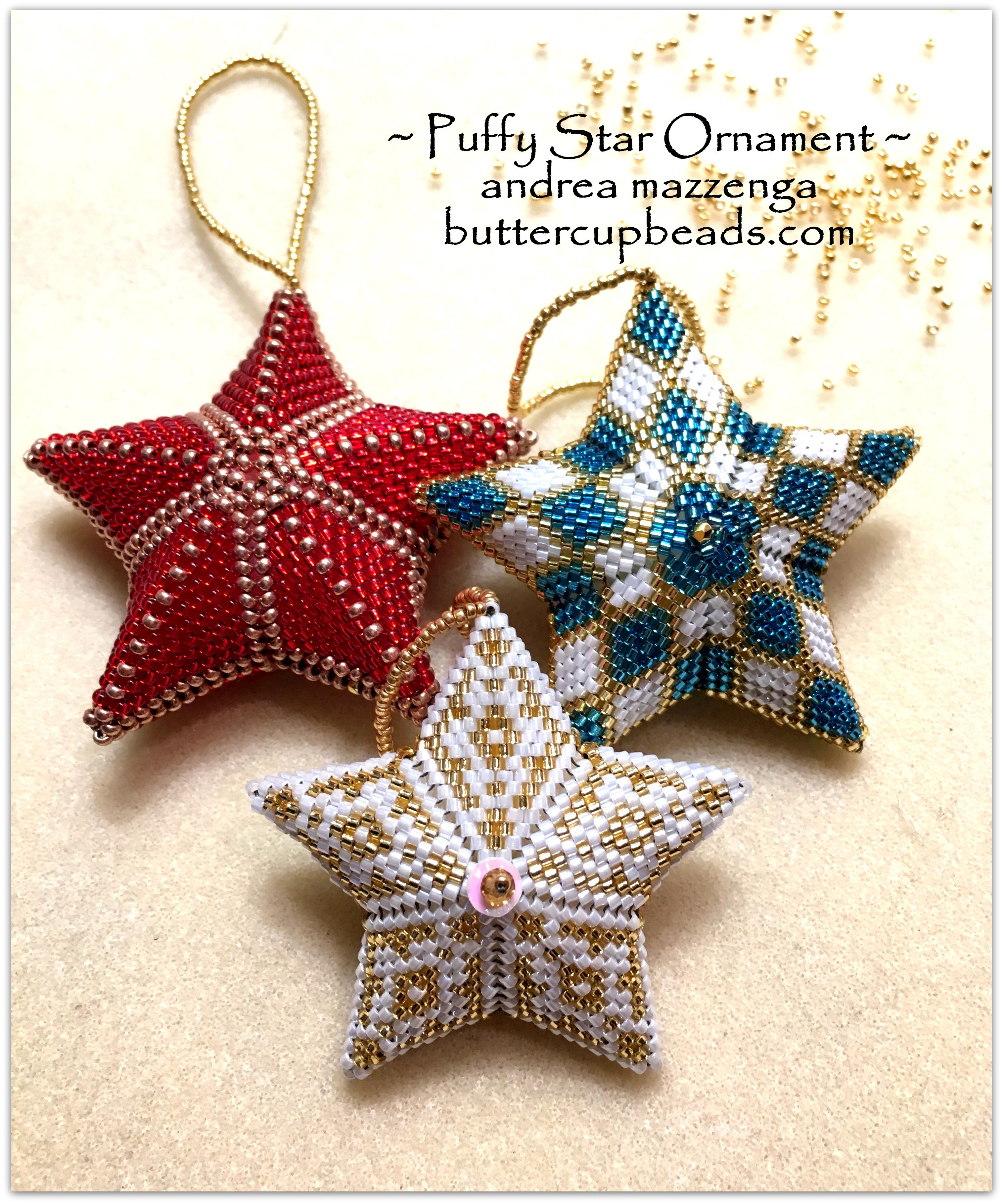A Quick Slideshow Tutorial On How To Make The Beaded Puffy Star Ornament Christmas Bead Beaded Christmas Ornaments Holiday Beading