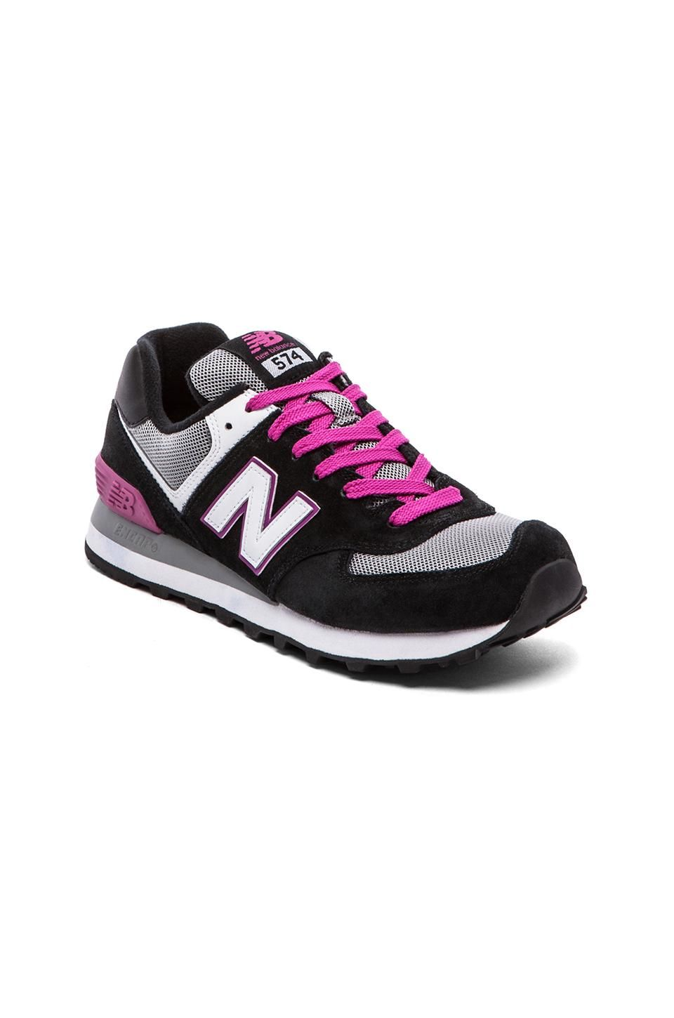 New balance 574 core collection sneaker in black pink
