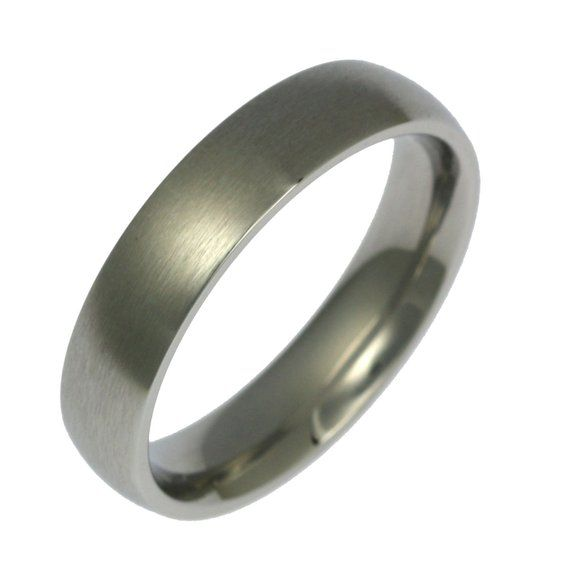 5mm Brushed Stainless Steel Mens Comfort Fit Wedding Band Ring Rings Stainles