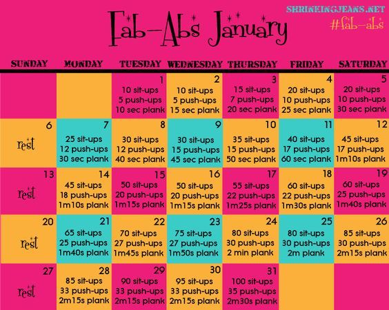 Fab-Abs January! {Monthly Workout Calendar} getting fit