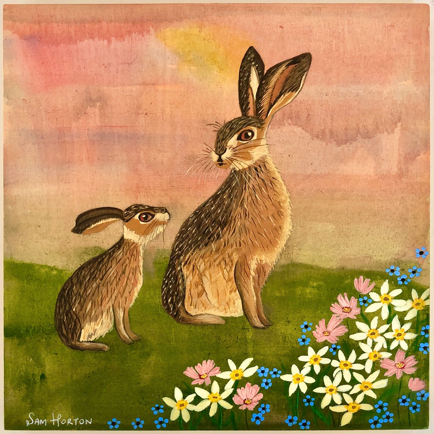 A little painting i managed to finish this weekend - mummy and baby hare . 'Be My Guide' Acrylic on 8x8