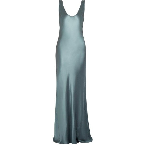 Galvan Scoop-neck sleeveless silk-satin gown (€935) ❤ liked on Polyvore featuring dresses, gowns, evening gowns, long dresses, light grey, scoop neck long dress, sleeveless long dress, sleeveless dress, light grey dress and silk satin dress