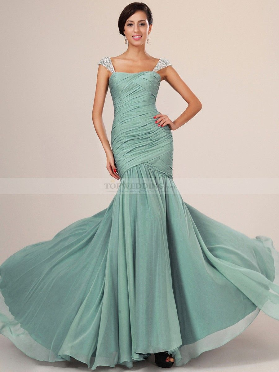 Beaded Straps Draped Chiffon Mermaid Evening Dress | Evening Dresses ...