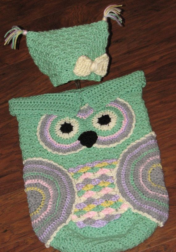 Crochet Custom-Made Baby Owl Cocoon and Hat Set / Owl Cocoon / Baby ...