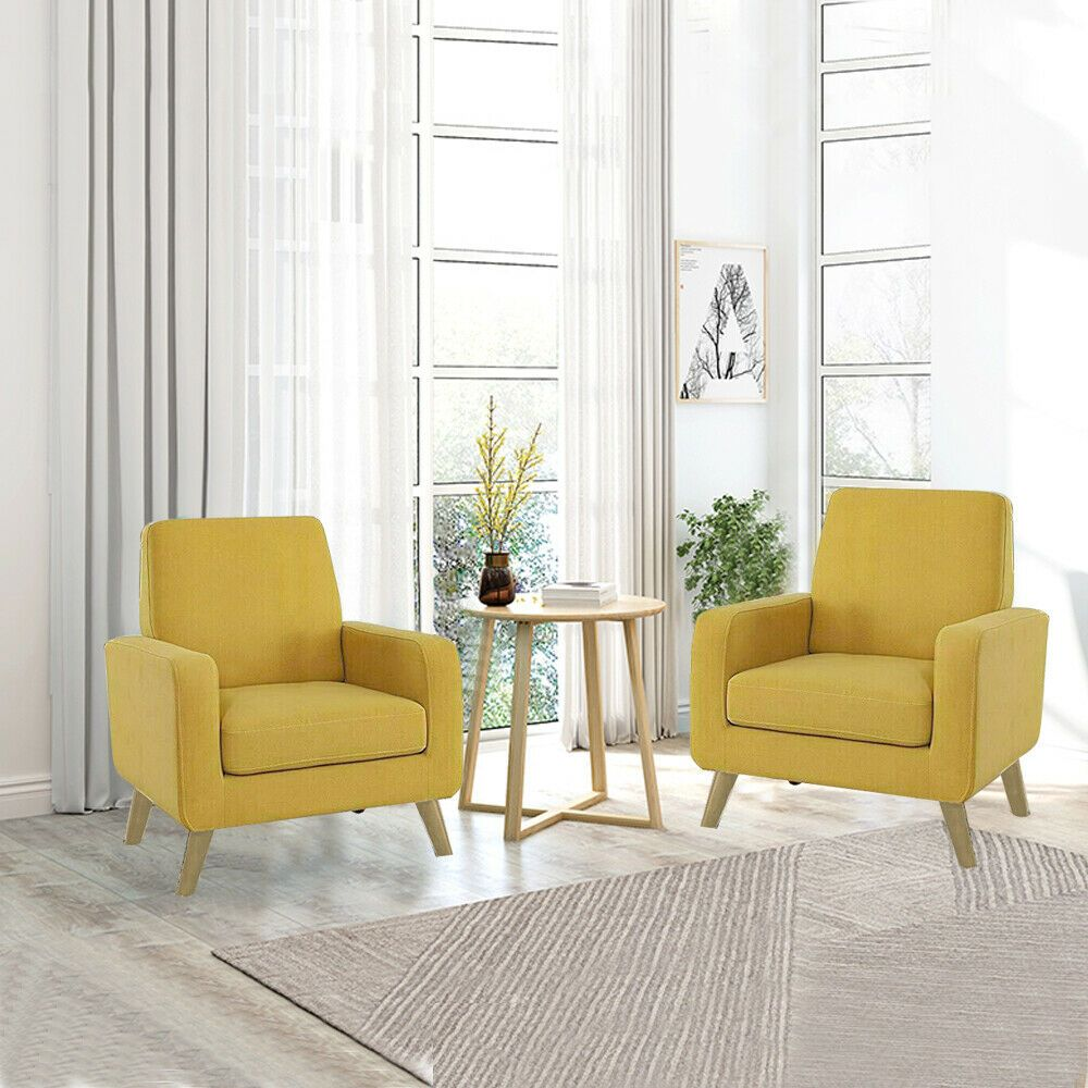 Modern Arm Chair Accent Single Sofa Linen Fabric Upholstered Living Room Yellow 26 In 2020 Living Room Chairs Modern Living Room Yellow Accents Arm Chairs Living Room