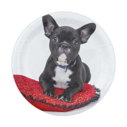 Cute Black BULLDOG Puppy Customizable Paper Plate - dog puppy dogs doggy pup hound love pet  sc 1 st  Pinterest & Cute Black BULLDOG Puppy Customizable Paper Plate - dog puppy dogs ...