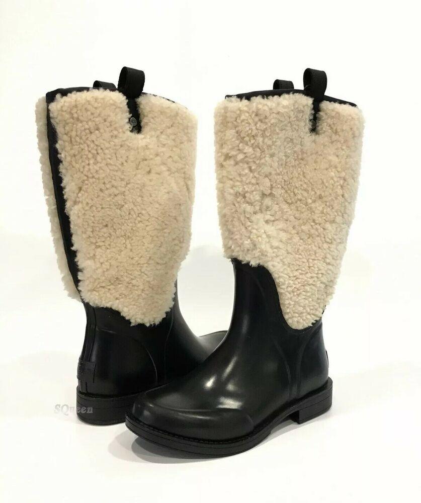 4d1ac586fb7 eBay Advertisement) NEW STYLE! UGG STEFANA FUR RAIN BOOTS BLACK ...