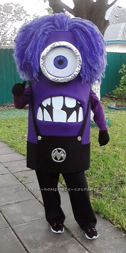 Awesome Homemade Purple Minion Costume Purple Minion Costume Minion Costumes Minion Halloween