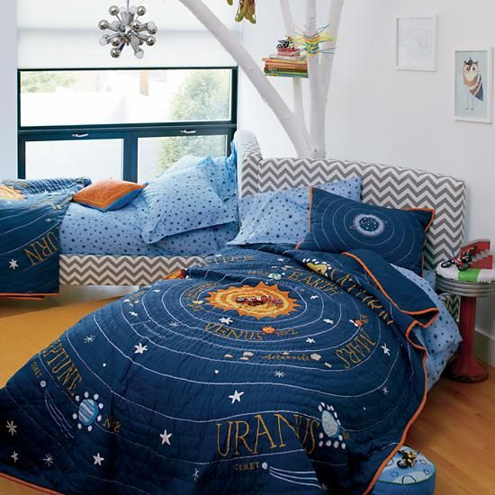 Kids Blue Solar System Bedding Crate And Barrel With Images