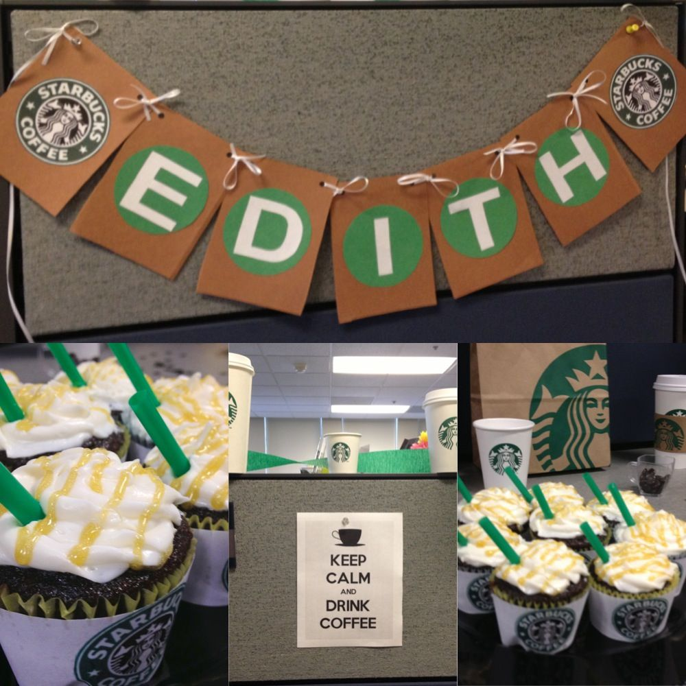 Starbucks Themed Office Party! Great for coffee lovers! Use recycled Starbucks coffee cups as props!