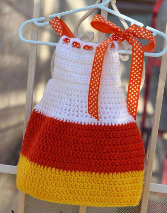 Crochet Newborn Candy Corn Dress Halloween Dress by alanemarie ... 689a0206fca3