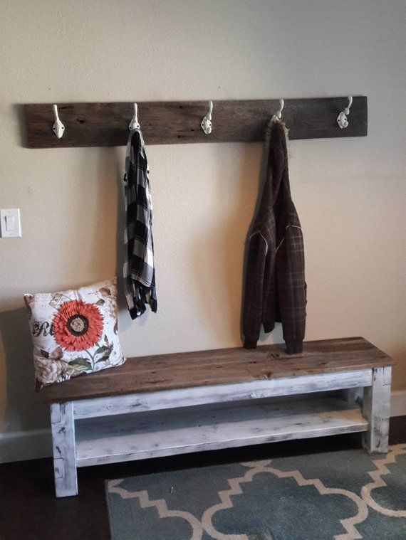 Reclaimed Wood Coat Rack Rustic Coat Rack Farmhouse Coat Rack Coat Hanger Distressed Coat Diy Storage Bench Entryway Shoe Storage Bench With Shoe Storage