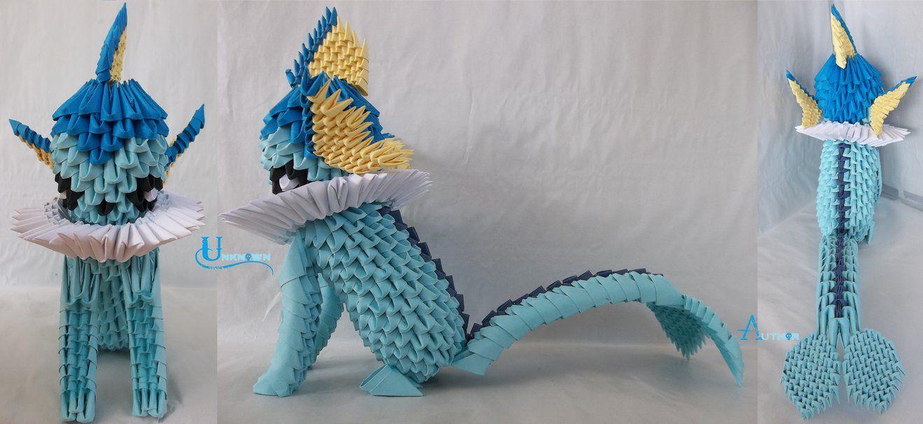 3d origami paper art 30 amazing modular character crafts 3d 3d origami vaporeon jeuxipadfo Images