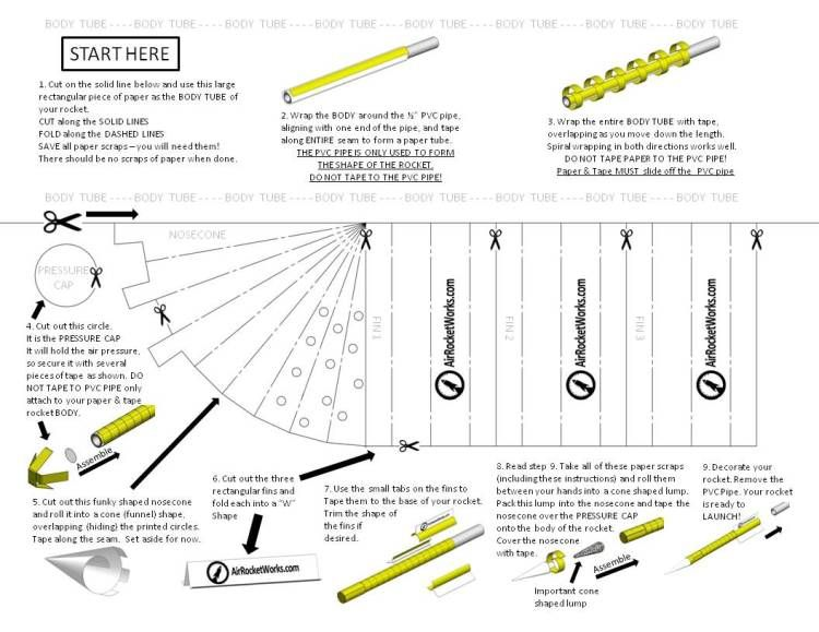 NEW Paper \ Tape Rocket Template on 85 x 11 Paper! - Instructions - lines paper