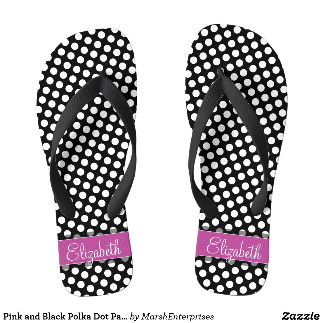 22e1982a1 Pink and Black Polka Dot Pattern with Monogram Flip Flops