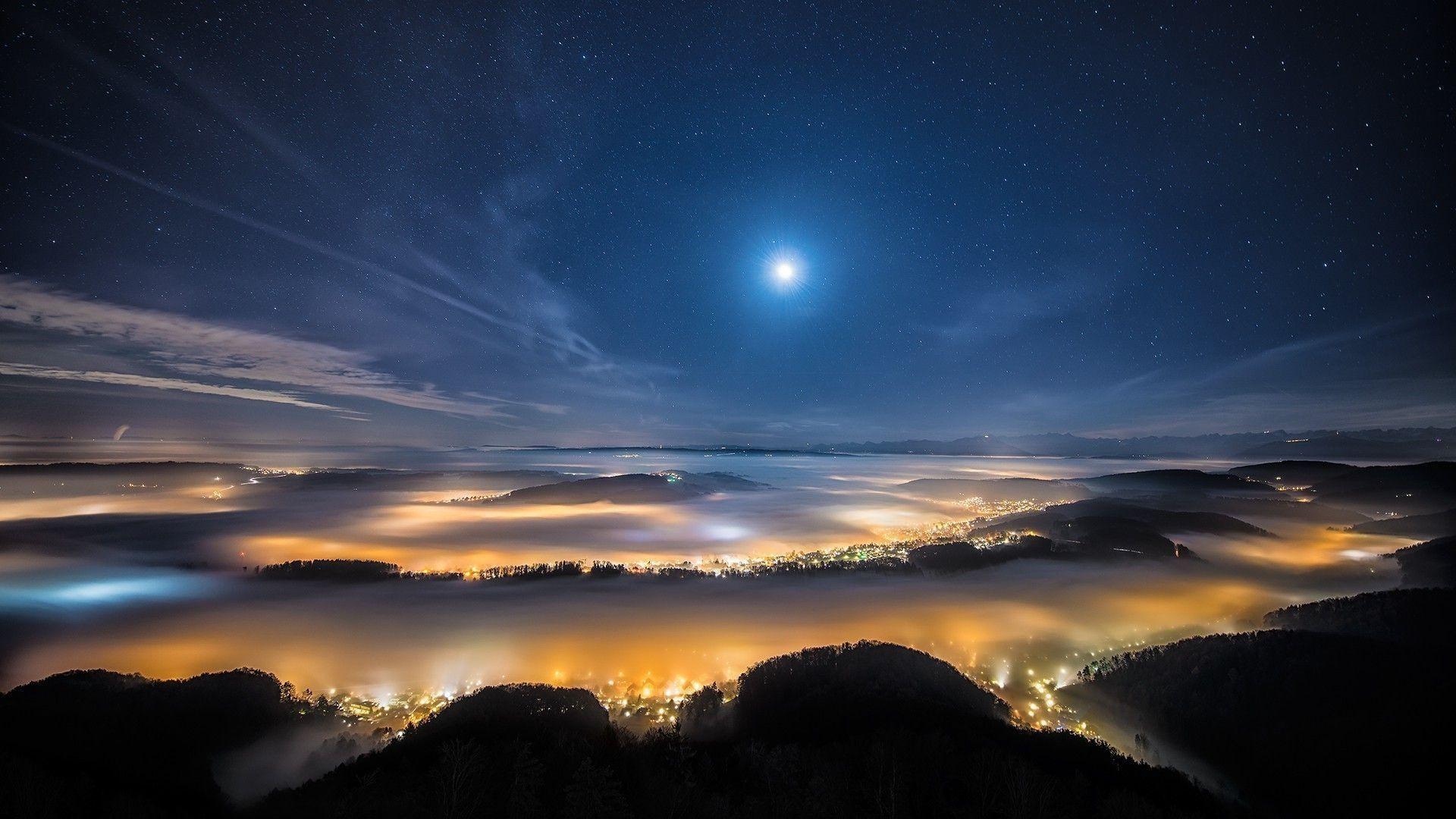 Night Sky Moon Star City Valley Mountain World 1920x1080 1080p Wallpaper Hdwallpaper Desktop Landscape Nature Pictures Night Skies 1080p night sky moon wallpaper hd
