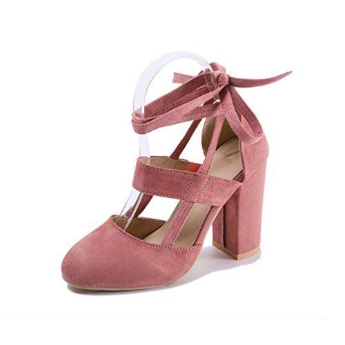 b55d31d5028d6 JITIAN Sandales Talons Hauts Carrés - Chaussure Bout Pointu Escarpin Bride  Cheville Lacet Sandale Femme Rose